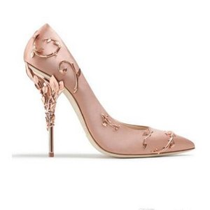 Ornement en métal Filigrane Feuille décor Femmes Pompes Multi-Couleurs élégent Femmes Chaussures Stiletto À Talons Hauts De Mariage De Mariée D'été Chaussures