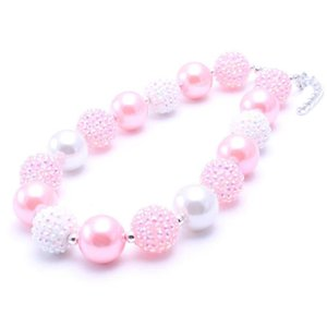 Fashion Pink White Color Kid Chunky Necklace New Design Children Bubblegum Bead Chunky Necklace Jewelry For Toddler Girls