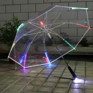 PVC transparente LED Umbrella Hot Sale 7 cores mudança LED luminosa Umbrella com lanterna Função Un PARAGUAS Led O Guarda Chuva de Luz