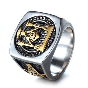 Gold Men Anel religiosa aço inoxidável Maçonaria e Prata Titanium Aço Masonic Anel