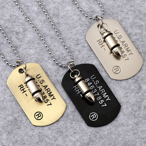 США армия пуля собака метка ожерелье подвесной хип хмель женщины мужские ожерелье мода ювелирные изделия будут и песчаный подарок