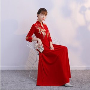 Melhorar Bordado Cheongsams estilo chinês Vestido Primavera Red Qipao Partido Vintage elegante túnica longa Oriental Vestido