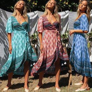 2020 Posimi impression florale V plomb Chalaze à manches courtes Tsumugi longue robe confortable Fonds
