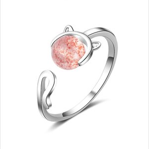 MEEKCAT 925 Solid Real Sterling Silver Fashion Cat Strawberry Crystal Opening Ring Sizable For Teen Girl Kid Xmas Gift DS977