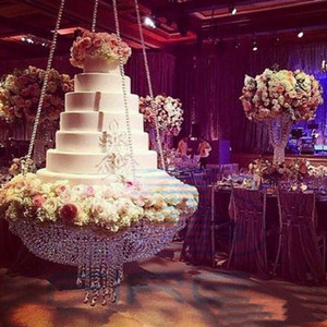 Round D60 Crystal chandelier cake stand hanging with crystal beaded cake table for wedding decoration