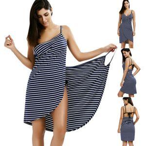 Moda Kadınlar Çizgili Mayo Eşarp Plaj Kapak Ups Wrap Sarong Sling Etek Maxi Elbise Lace Up Backless Kadın Mayo