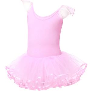 Filles Dance One-Piece Robe Jupe Vêtements d'exercice Jeunes enfants Retour Croix Ballet Fluffy Dress Mesh
