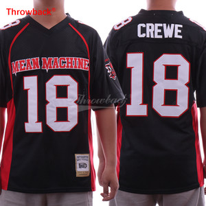Paul Crewe 18 Mean Machine Jersey Football Movie Version Maglie Tutti gli uomini cuciti Nero Trasporto libero