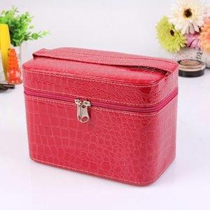 Neue Frauen Comestic Bag 19203 PU-Leder-Verfassungs-Beutel wasserdichte Schönheit Wash Große Kapazitäts-bewegliche Muster-Reise-Tasche Box