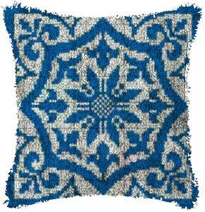 Blue lattice Latch Hook Rug Kits Segment Embroidery Pillow Wool Cross Stitch Carpet Embroidery DIY Latch Hook Pillow