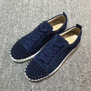 Corredores nuevos zapatillas de deporte zapato rojo inferior escotado Navy Blue Suede Shoes deportivos pico para hombres y mujeres zapatos de fiesta de la boda de cuero cristalina Sneake