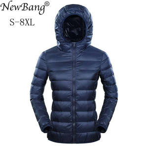 NewBang Marke 7XL 8XL Daunenjacke mit Kapuze Frauen Ultra Light Daunenjacke Frauen plus Feder Winter-dünne warme Windjacke Mäntel
