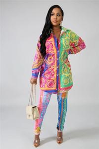 Diseñador para mujer Dos pantalones piezas de moda Multi color del otoño largas chándales para mujer Camisas ocasionales 2pcs sistemas