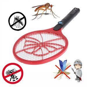 AC 220V قابلة للشحن الكهربائية الحشرات الحشرات البعوض يطير منشة مع بطارية قابلة للشحن LED ضوء اليد مضرب البعوض القاتل