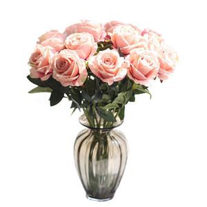 Flanel Gül Çiçek 10pcs / lot Düğün Süsleme Gerçek Dokunmatik Bezi Gül Çiçek Başkanı Plastik Ev Ofis Dükkan İpek Dekoratif Rose Stem