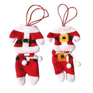 Los titulares de Navidad de Navidad Cubiertos Cubiertos titular Adornos Decoración de fiesta de Santa juego de la cena de los regalos Decor Cuchillo Tenedor de bolsillo Bolsas JK1910
