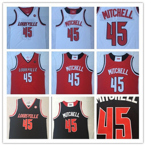 İşlemeli NCAA Basketbol # 45 Donavan Mitchell Louisville Kardinaller Basketbol Formalar Kırmızı Siyah Beyaz University College Gömlek Dikişli