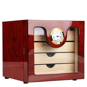 Cohiba élégant 4 tiroirs haute finition brillant cigares en bois Cabinet Humidor Boîte de rangement W / hygromètre électronique Cigares outil de fumer