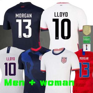 4 étoiles 2020 fille Coupe du monde de football maillot Amérique du Lavelle champion shirt femme homme États-Unis LLOYD RAPINOE KRIEGER Football Uniforme Femme 19 20