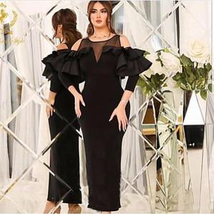 Elegant Black sera della sirena abiti per le donne 2019 Tiered Ruffles maniche lunghe caviglia pura del collo di promenade del partito del vestito abiti