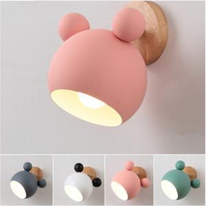 Luz a la pared de madera lámpara de cabecera moderna aplique de la luz para el dormitorio nórdico de 5 colores de dirección Head E27 85-260V