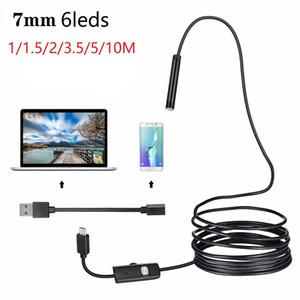 1 / 1,5 / 2 / 3,5 / 5M / 10M 7 milímetros Endoscope Camera HD macia impermeável 6 LED Mini USB câmera de inspeção endoscópio Cable