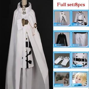 Serafón de alta calidad del final Mikaela Hyakuya Cosplay Disfraz conjunto completo Uniforme Capa de bola de fiesta Peluca
