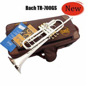 Alta calidad Bach TR-700GS Trompeta Bb Latón Instrumentos musicales plateados de plata Estudiantes tallados Nueva Trompeta Bb Envío gratis