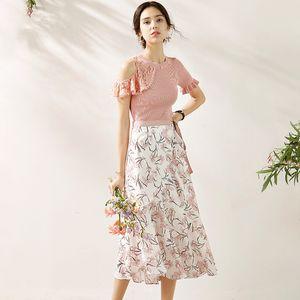 2020 Summer Fashion Off Shoulder Ruffles Pink Knitted Shirt Top + Belt Chiffon Floral Printed Skirt 2 Piece Set Women Outfits