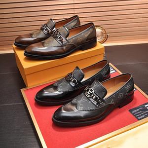 Zapatos de vestir formales de alta calidad para Gentle diseñador de lujo de los hombres zapatos de cuero genuinos punta estrecha de diseño zapatos casuales para hombre de negocios Oxfords