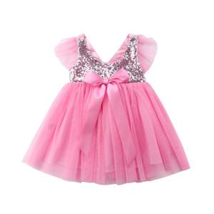 Bebê recém-nascido caçoa a menina Princesa Flor Bow festa a fantasia vestido de noiva aniversário Tutu Pageant Vestidos dama formais 1-3 anos