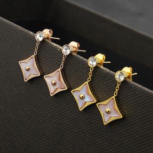أزياء رائعة سيدة التيتانيوم الصلب شرابات واحدة الماس الوردي العقيق أربع أوراق زهرة 18 كيلو الذهب مطلي أقراط استرخى 3 اللون