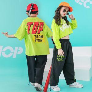 Crianças Hip Hop Dance Costume recortada camisola do Hoodie T Shirt Calça Casual para Meninas Meninos Roupas de salão desgaste Dancewear
