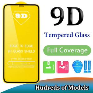 9D Full Cover Ausgeglichenes Glas für iPhone 11 Pro Max XS XR X 6 7 8 Plus SE 2020 Samsung A01 A51 A71 A91 A10E Huawei P40 Lite P Smart-Redmi 8A
