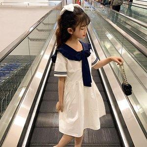YourSeason Дети девушки колледжа Стиль 2020 Летние повседневные платья детей хлопка девушки Sailor воротник моды платья