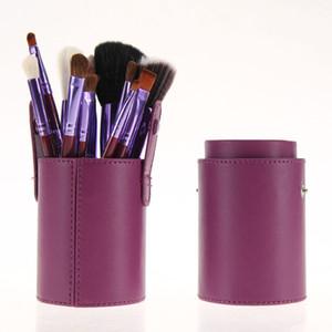 فرشاة ماكياج اسطوانة 12PCS مقبض خشبي فرشاة التجميل مجموعة برميل فرشاة أدوات التجميل السفينة حرة 3 مجموعة