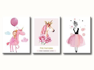 Unicorn Wall Art Bedroom Decor Canvas Art for Girls Birthday Gifts Pink Unicorns Balloon Ballet Princess Pictures Kids Room Poster