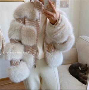 abrigo de piel para el invierno 2020 nueva chaqueta de piel de zorro cuello de la chaqueta de tweed bombardero de stand-up de las mujeres de capa de las mujeres
