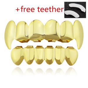большие скидки унисекс хип-хоп зубы Grillz экологически чистый металл позолоченного золота безопасного съедобный воск вместе заботиться о здоровье зубов