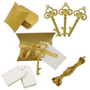 100 X Gold / Silber Kreative Kissen Pralinenschachtel Mit Retro Schlüsselförmigen Flaschenöffner Tag Band Für Hochzeit Event Supplies