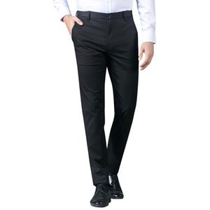 TFETTERS Verano 2019 Moda Hombre de negocios Casual Pantalones largos Traje Pantalones Hombre Elástico Recto Pantalones Formales Más Tamaño 28-38