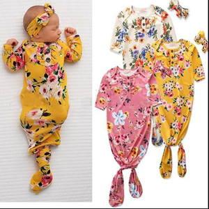 Toddle Schlafsäcke Stirnband Set Blumenblumen-Anti-Tritt-Kleidung Strampler Newborn Short Sleeve geknotete Pyjamas Set Homewear Nachtwäsche C7005