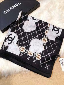 New Top Quality Duplo Ice Silk Chiffon Scarf Mulheres Macio Four Seasons Lenços de Luxo Impressão Camellia Designer longo Shawl Adicionar Paperbag