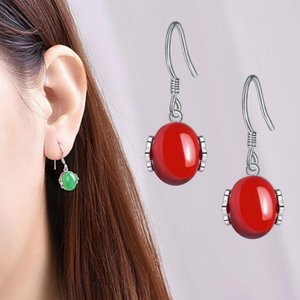 famous designer Fashion earrings female natural retro green agate garnet earrings chalcedony ear hook jewelry wholesale earrings for gift