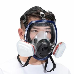 7 в 1 Full Face Mask Gas силиконовый фильтр Химическая маска пыли кислота Токсичные воздуха Химикаты Респираторы картина / пестицида / Лаборатория