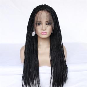 Caja larga trenza de la peluca pelucas del cordón de trenzado trenzas de alta calidad sintética de encaje peluca delantera cornrow negro para las mujeres negras