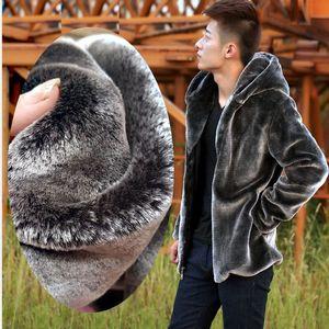 가을 겨울 남성 가짜 모피 밍크 코트 짧은 회색 후드 코트 봉제 무성한 남성 플러스 사이즈 XXXL 4XL 5XL 따뜻한 외투 남성