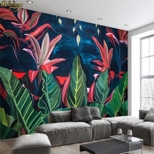 beibehang European - style retro tropical rain forest banana leaf TV background wall custom wallpaper large mural wall stickers