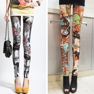 Womens Mid Rise Ancient Tribe Wall Mural Print Ankle Length Vintage Colored Tights Milk Fiber Sports Yoga Pencil Pants