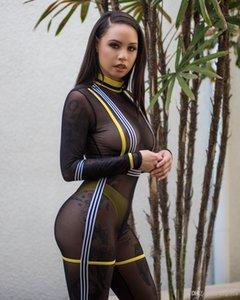 Hot 2019 Kricesseen Sexy Patchwork Mesh-Playsuit Frauen schwarze lange Hülsen-elegante dünne Bodycon Overall-Spielanzug Frauen Allen Net Jumpsuit